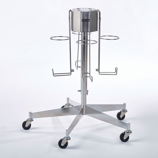 1. Select canister size and supports. Attach supports to floor stand.